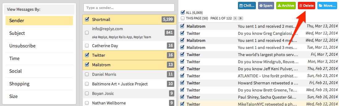 Screenshot of Mailstrom bulk delete thousands of messages with one click